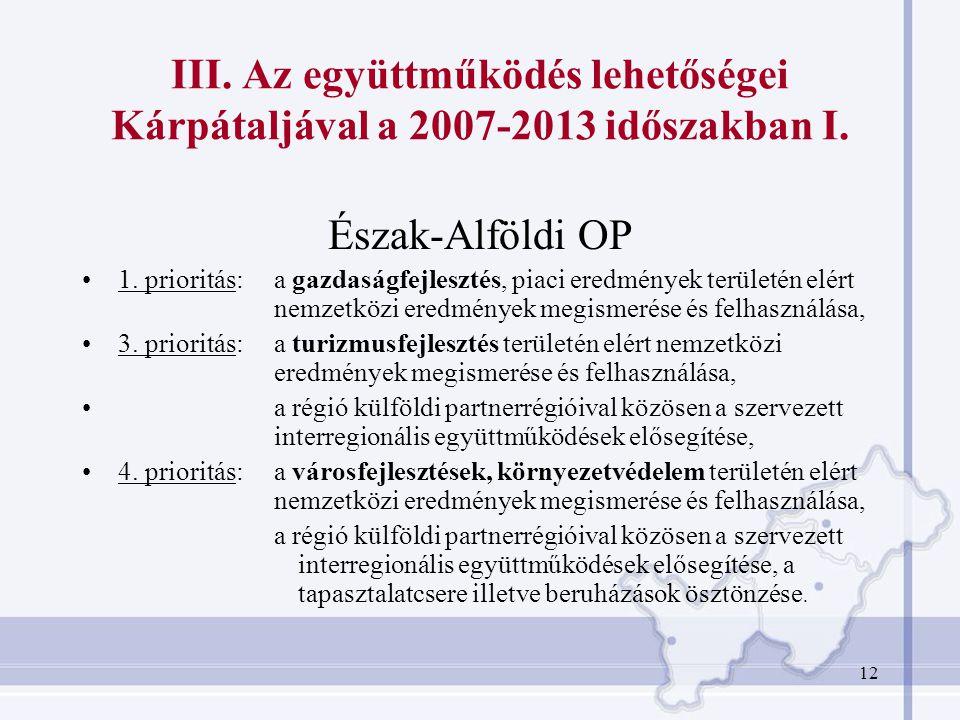 III. Az együttműködés lehetőségei Kárpátaljával a 2007-2013 időszakban I.