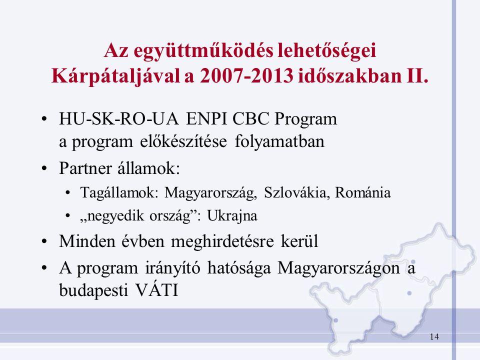 Az együttműködés lehetőségei Kárpátaljával a 2007-2013 időszakban II.