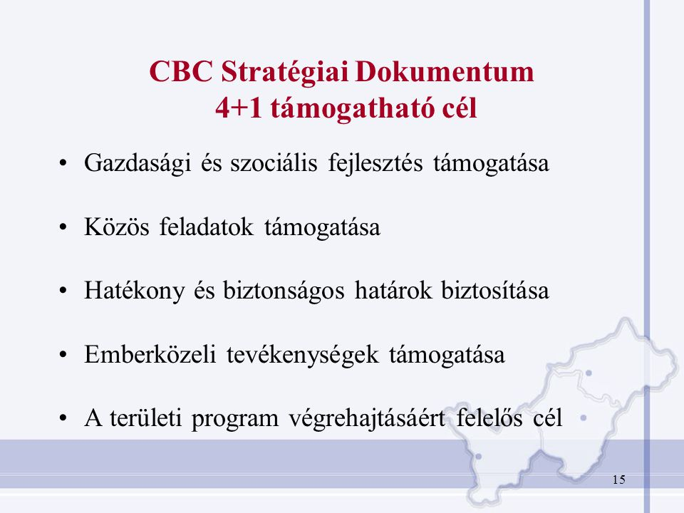CBC Stratégiai Dokumentum 4+1 támogatható cél
