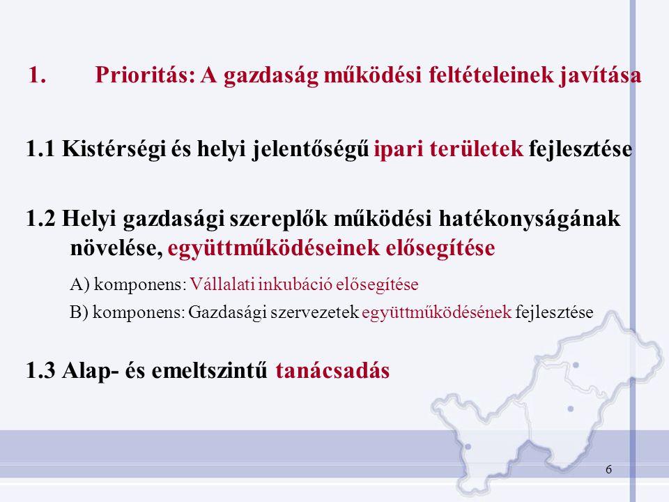 1. Prioritás: A gazdaság működési feltételeinek javítása