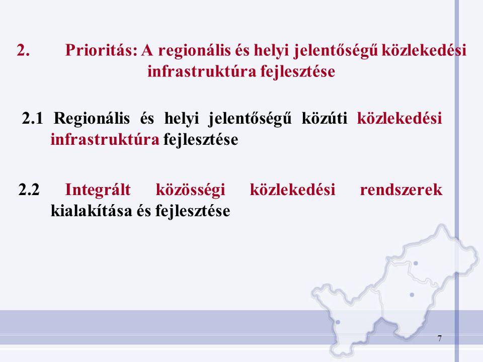 2. Prioritás: A regionális és helyi jelentőségű közlekedési infrastruktúra fejlesztése
