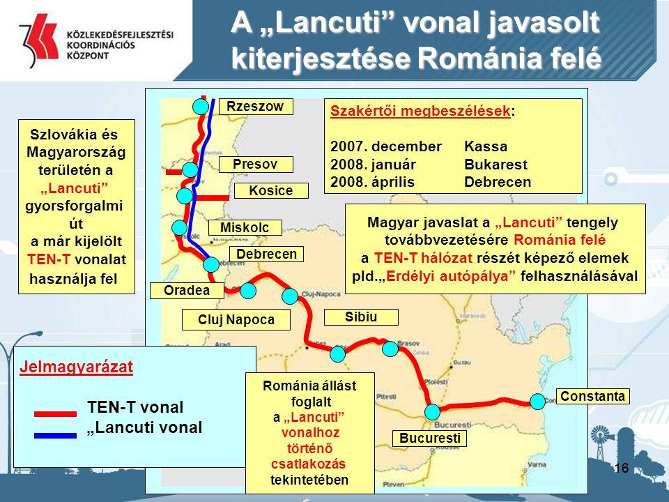 """A """"Lancuti vonal javasolt kiterjesztése Románia felé"""