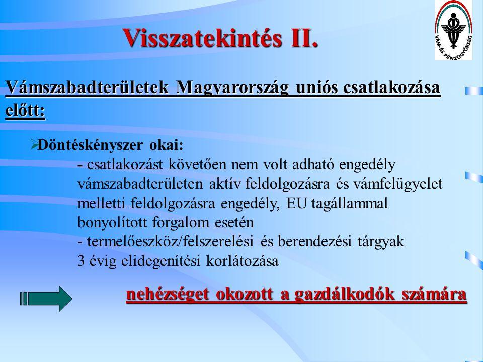 Visszatekintés II. Vámszabadterületek Magyarország uniós csatlakozása előtt: Döntéskényszer okai: - csatlakozást követően nem volt adható engedély.