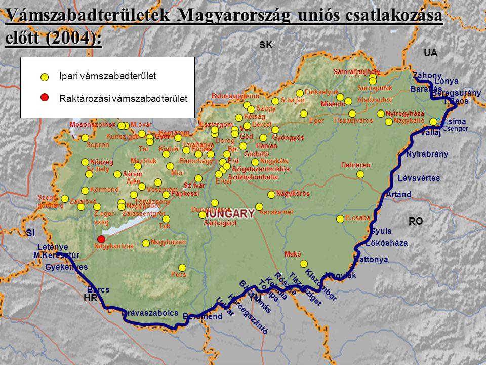 Vámszabadterületek Magyarország uniós csatlakozása előtt (2004):