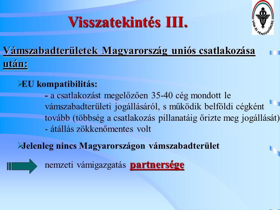 Visszatekintés III. Vámszabadterületek Magyarország uniós csatlakozása után: EU kompatibilitás: - a csatlakozást megelőzően 35-40 cég mondott le.