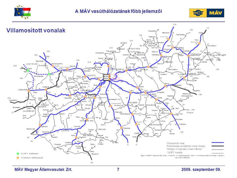 A MÁV vasúthálózatának főbb jellemzői