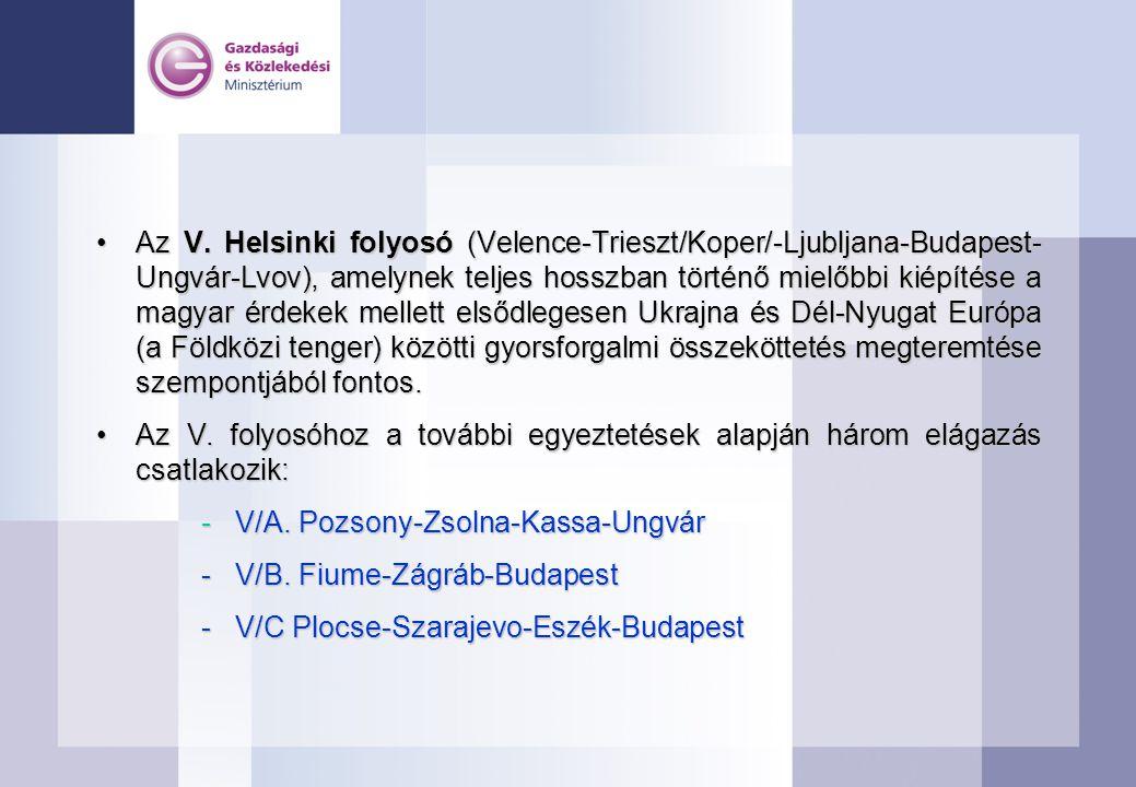 Az V. Helsinki folyosó (Velence-Trieszt/Koper/-Ljubljana-Budapest- Ungvár-Lvov), amelynek teljes hosszban történő mielőbbi kiépítése a magyar érdekek mellett elsődlegesen Ukrajna és Dél-Nyugat Európa (a Földközi tenger) közötti gyorsforgalmi összeköttetés megteremtése szempontjából fontos.