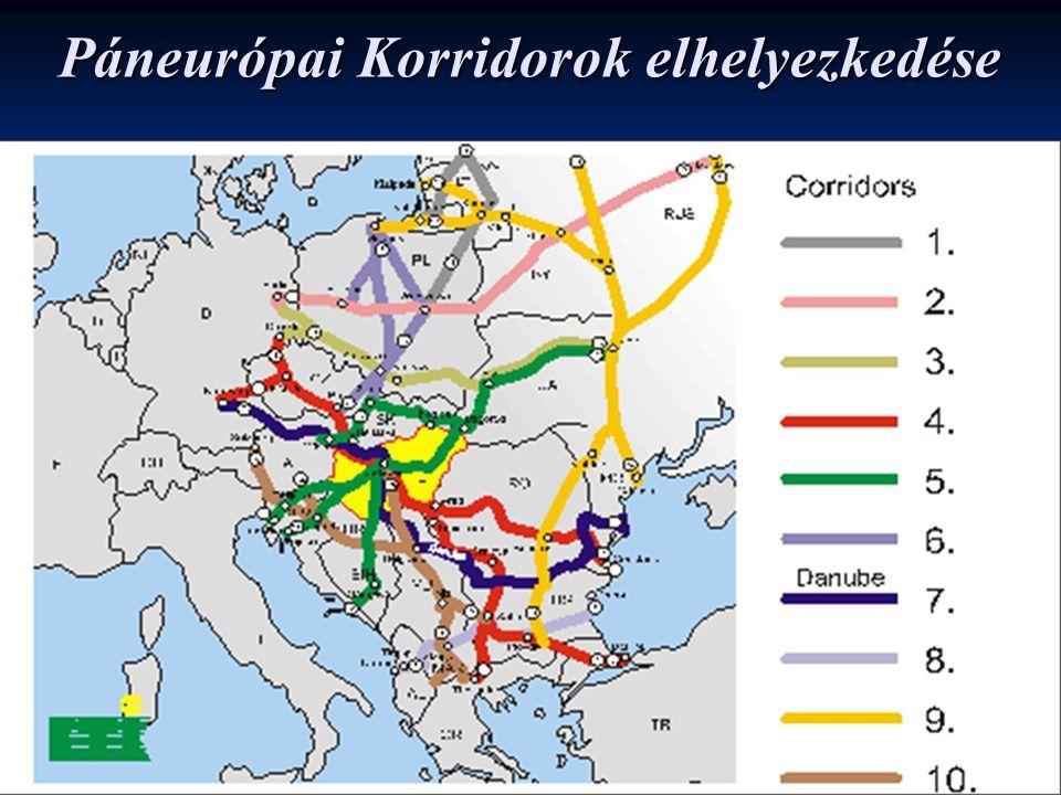 Páneurópai Korridorok elhelyezkedése