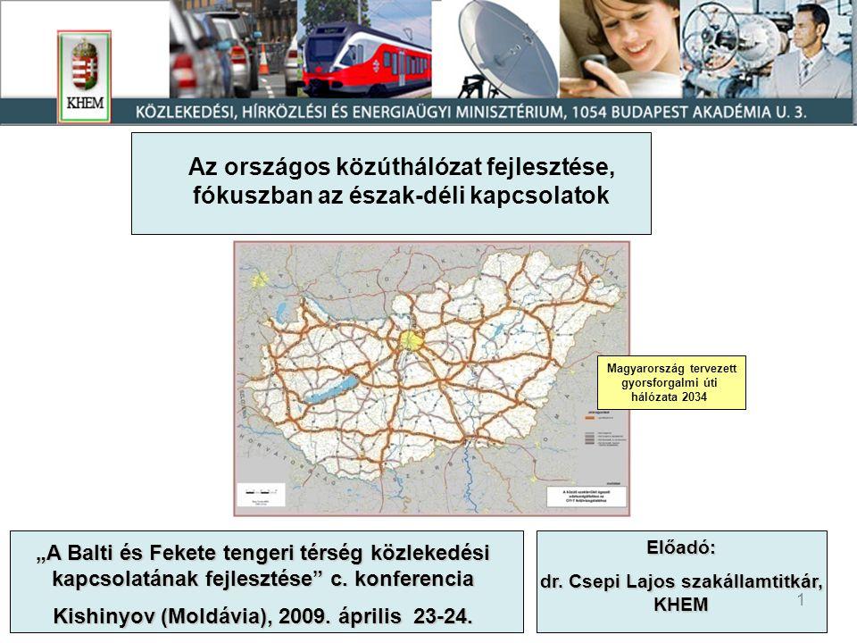 Az országos közúthálózat fejlesztése,