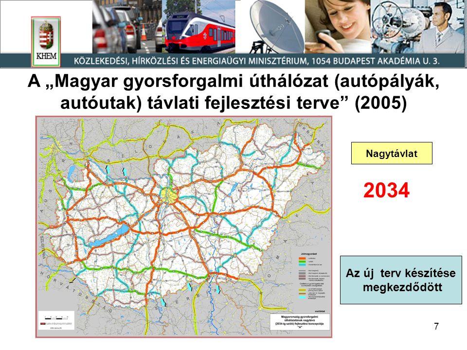 """A """"Magyar gyorsforgalmi úthálózat (autópályák, autóutak) távlati fejlesztési terve (2005)"""