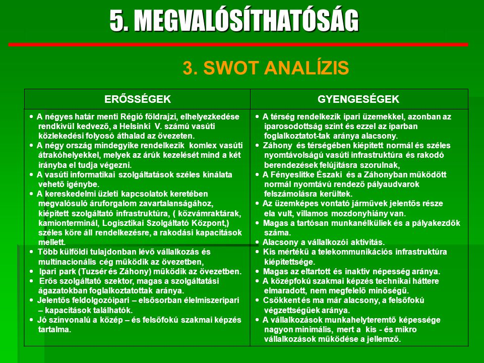 5. MEGVALÓSÍTHATÓSÁG 3. SWOT ANALÍZIS ERŐSSÉGEK GYENGESÉGEK