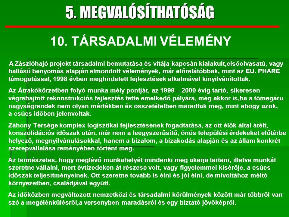 5. MEGVALÓSÍTHATÓSÁG 10. TÁRSADALMI VÉLEMÉNY
