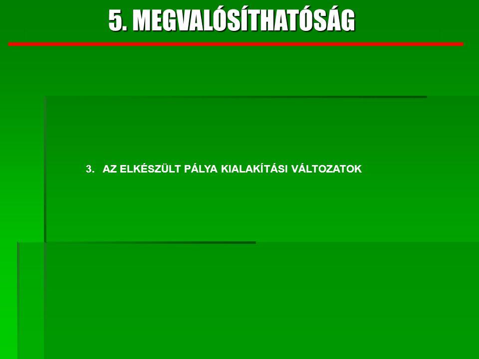 5. MEGVALÓSÍTHATÓSÁG 3. AZ ELKÉSZÜLT PÁLYA KIALAKÍTÁSI VÁLTOZATOK