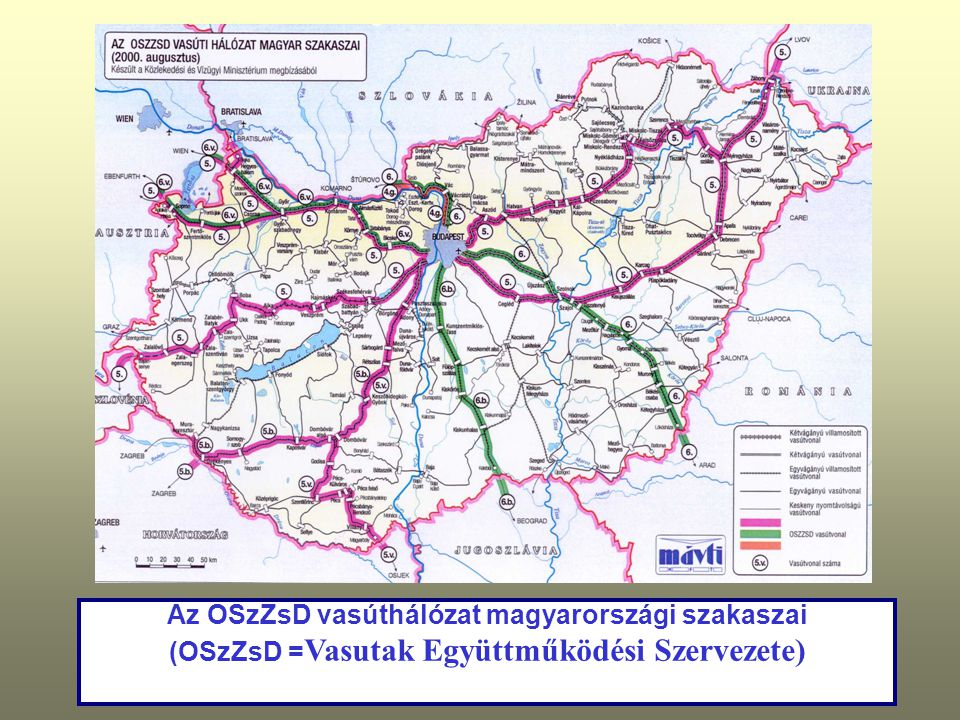 Az OSzZsD vasúthálózat magyarországi szakaszai