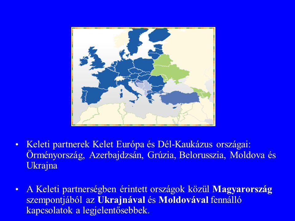 Partnerországok Keleti partnerek Kelet Európa és Dél-Kaukázus országai: Örményország, Azerbajdzsán, Grúzia, Belorusszia, Moldova és Ukrajna.
