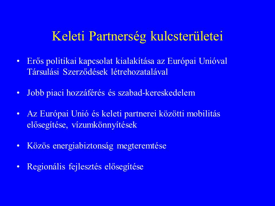 Keleti Partnerség kulcsterületei
