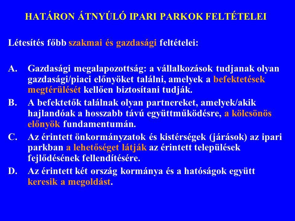 HATÁRON ÁTNYÚLÓ IPARI PARKOK FELTÉTELEI