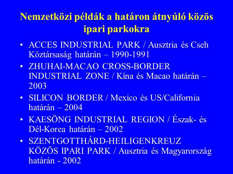 Nemzetközi példák a határon átnyúló közös ipari parkokra