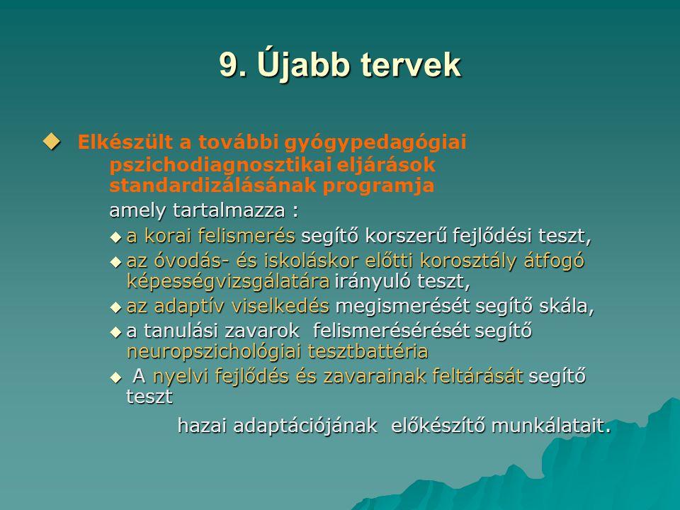 9. Újabb tervek Elkészült a további gyógypedagógiai pszichodiagnosztikai eljárások standardizálásának programja.