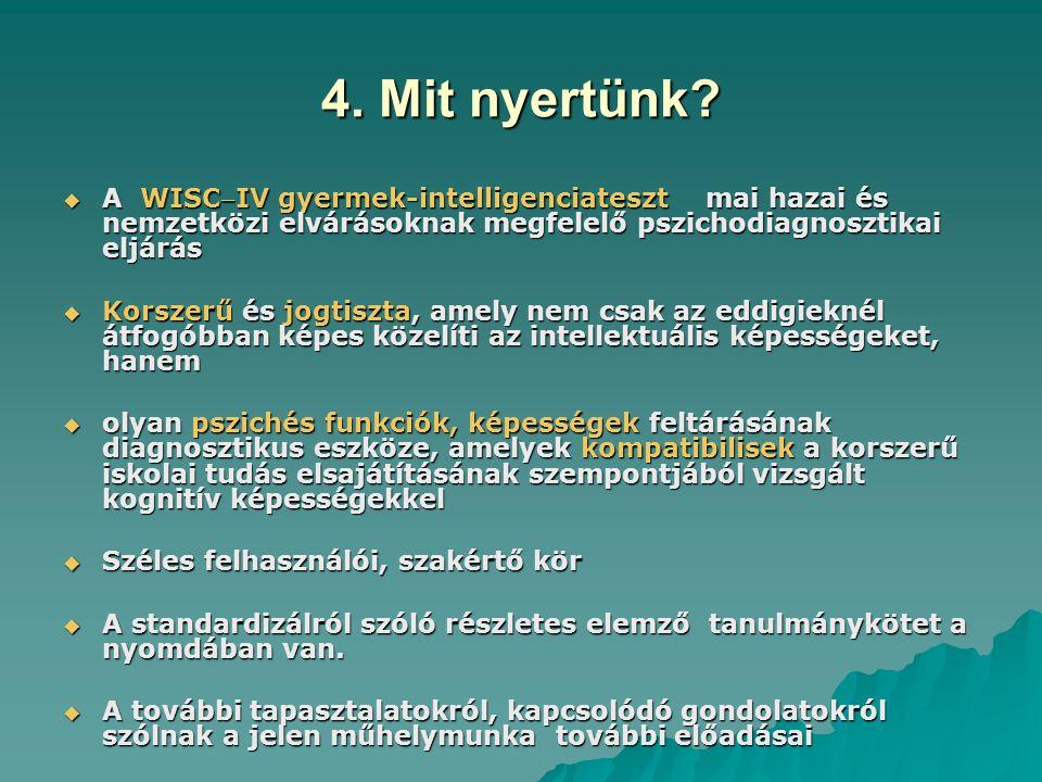 4. Mit nyertünk A WISCIV gyermek-intelligenciateszt mai hazai és nemzetközi elvárásoknak megfelelő pszichodiagnosztikai eljárás.