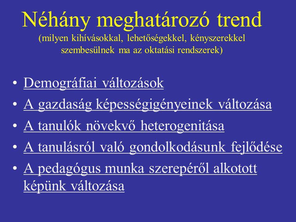 Néhány meghatározó trend (milyen kihívásokkal, lehetőségekkel, kényszerekkel szembesülnek ma az oktatási rendszerek)