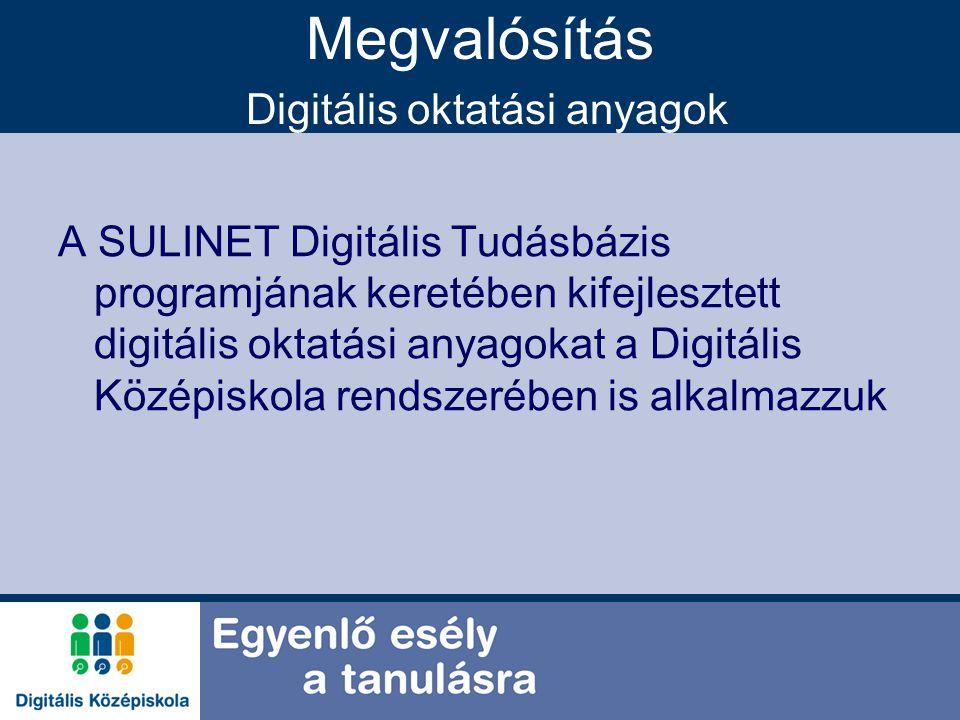 Megvalósítás Digitális oktatási anyagok