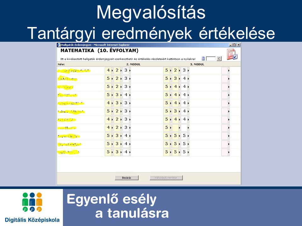 Megvalósítás Tantárgyi eredmények értékelése