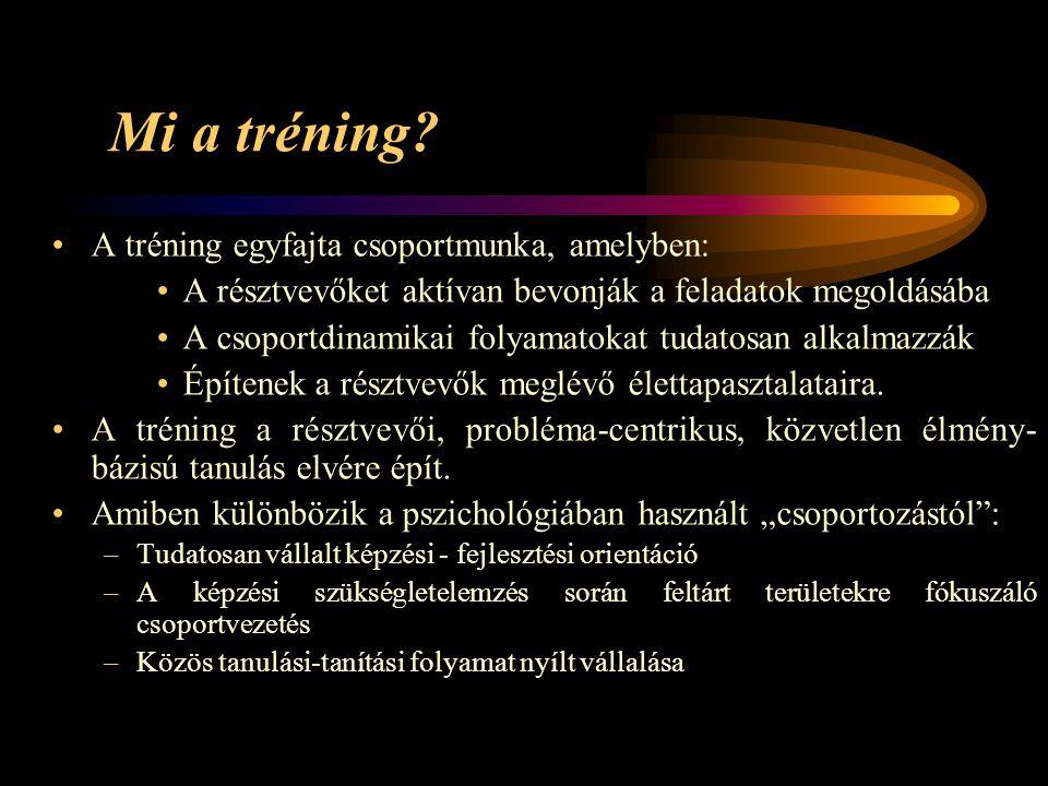 Mi a tréning A tréning egyfajta csoportmunka, amelyben: