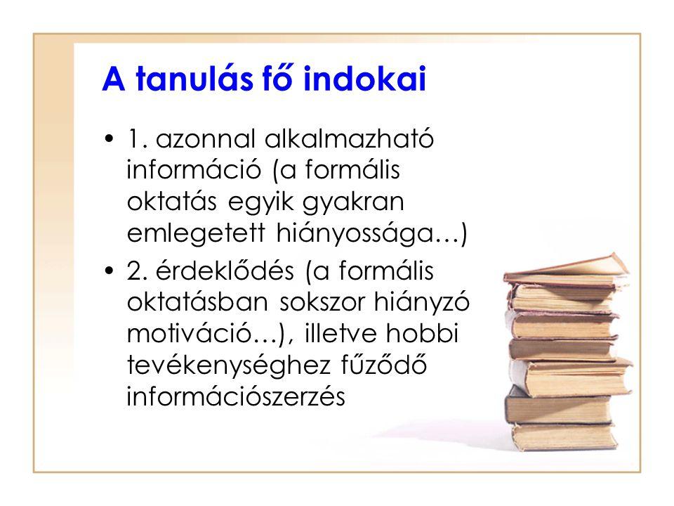 A tanulás fő indokai 1. azonnal alkalmazható információ (a formális oktatás egyik gyakran emlegetett hiányossága…)