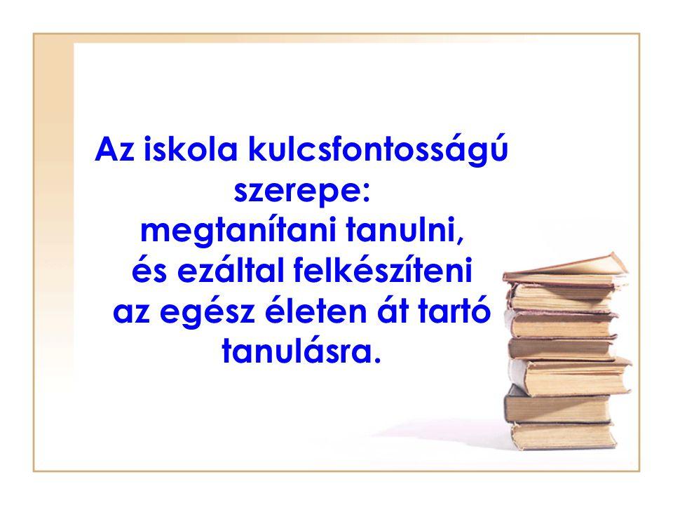 Az iskola kulcsfontosságú szerepe: megtanítani tanulni, és ezáltal felkészíteni az egész életen át tartó tanulásra.