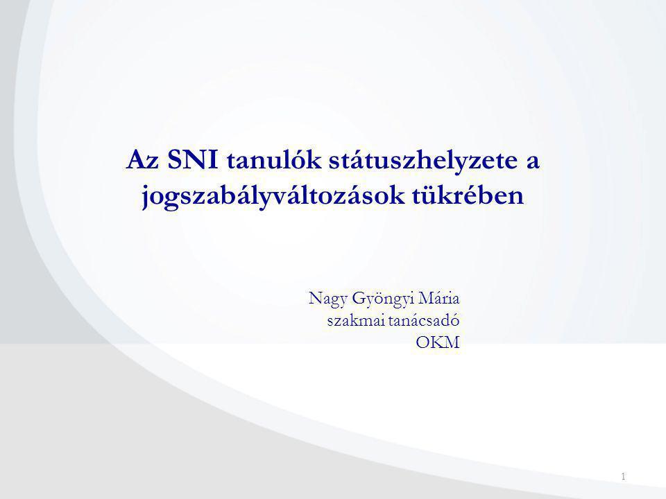 Az SNI tanulók státuszhelyzete a jogszabályváltozások tükrében