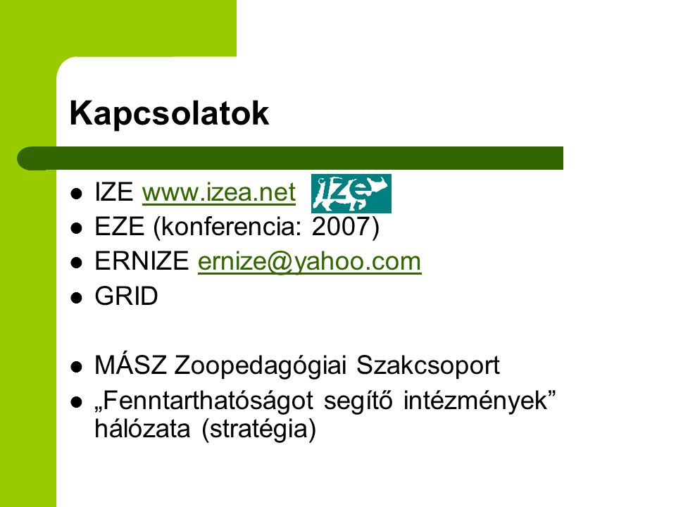 Kapcsolatok IZE www.izea.net EZE (konferencia: 2007)