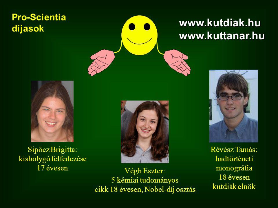 www.kutdiak.hu www.kuttanar.hu Pro-Scientia díjasok Sipőcz Brigitta: