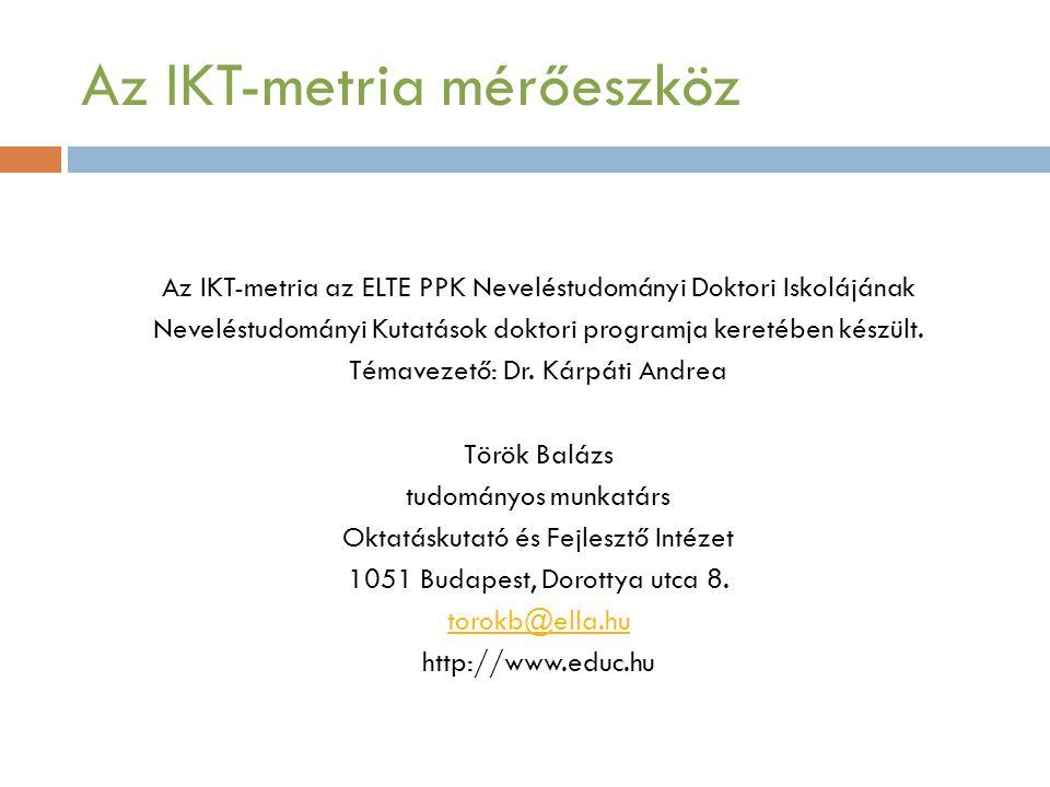 Az IKT-metria mérőeszköz