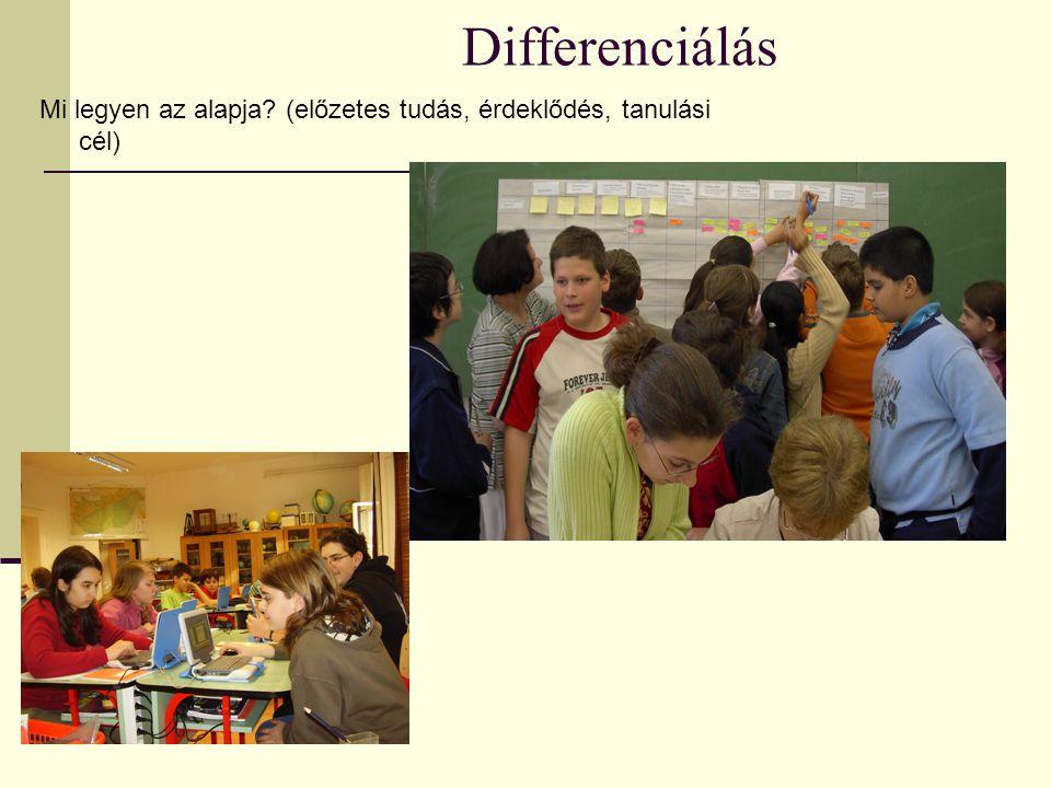 Differenciálás Mi legyen az alapja (előzetes tudás, érdeklődés, tanulási cél)
