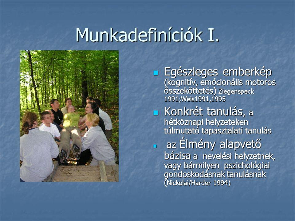 Munkadefiníciók I. Egészleges emberkép (kognitív, emócionális motoros összeköttetés) Ziegenspeck 1991;Weis1991,1995.