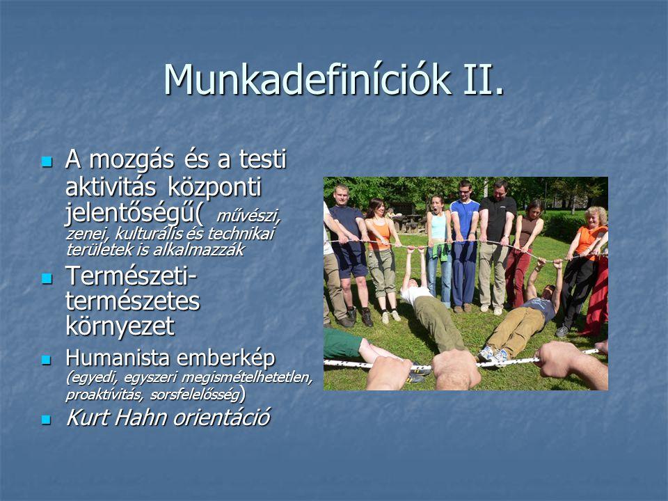 Munkadefiníciók II. A mozgás és a testi aktivitás központi jelentőségű( művészi, zenei, kulturális és technikai területek is alkalmazzák.