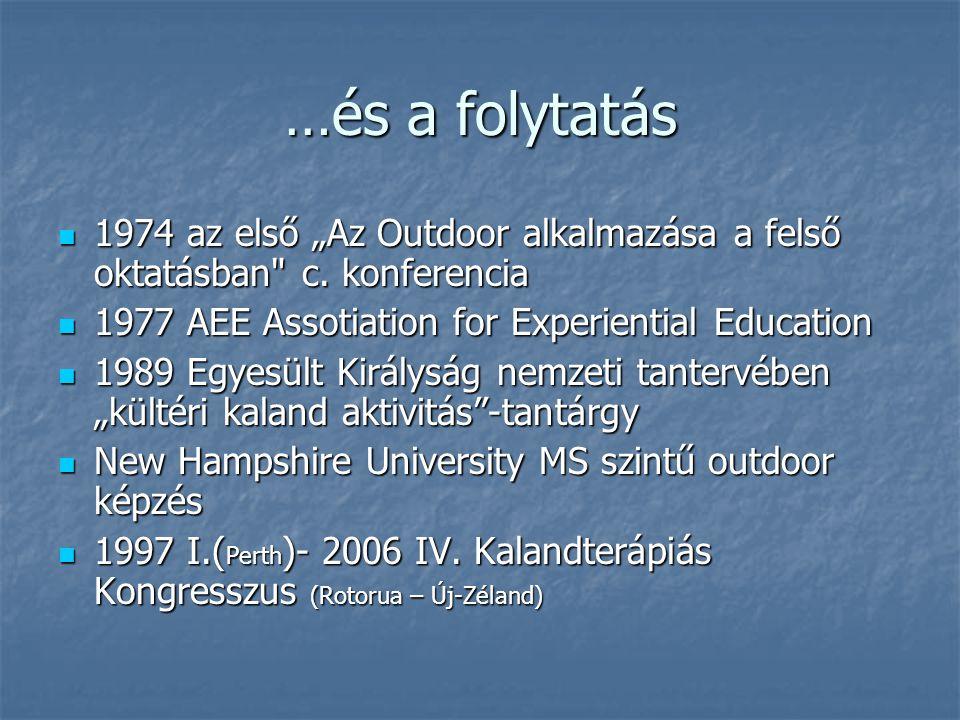 """…és a folytatás 1974 az első """"Az Outdoor alkalmazása a felső oktatásban c. konferencia. 1977 AEE Assotiation for Experiential Education."""