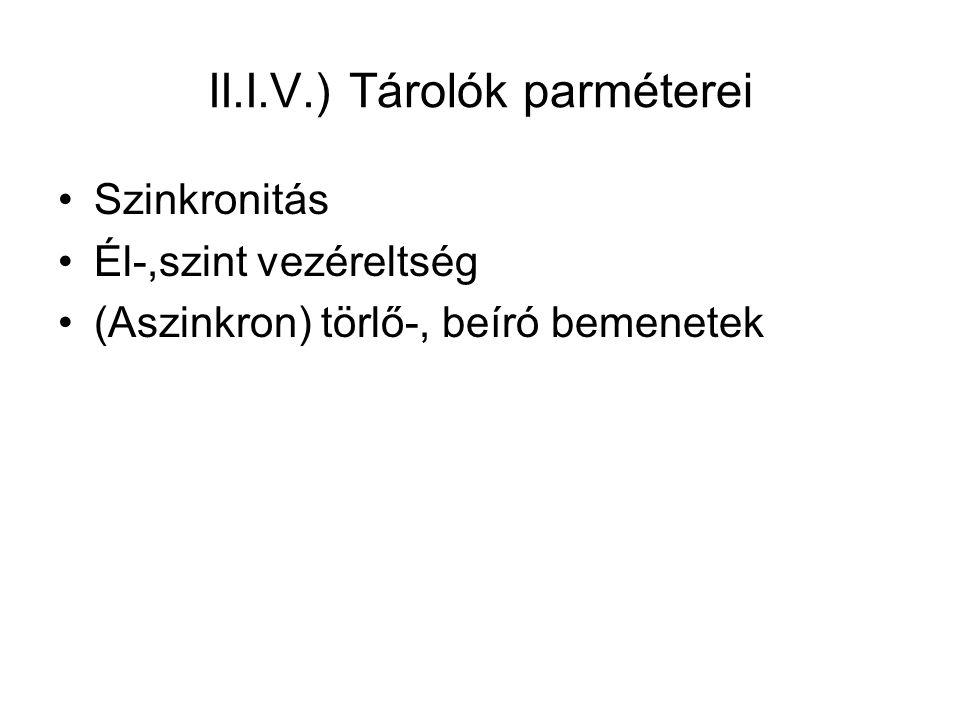 II.I.V.) Tárolók parméterei