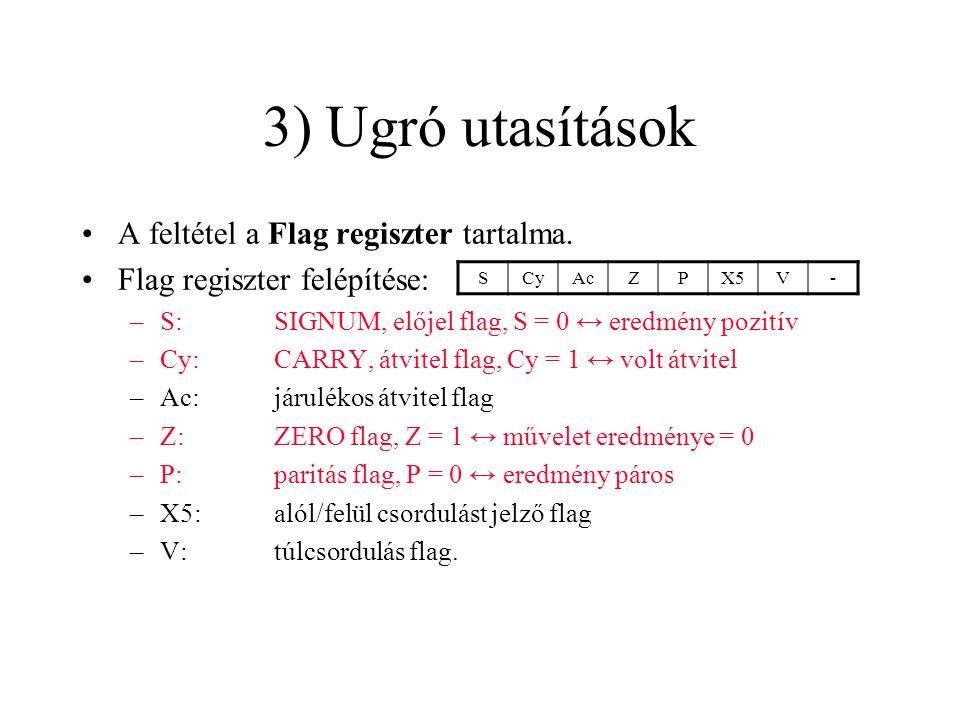 3) Ugró utasítások A feltétel a Flag regiszter tartalma.