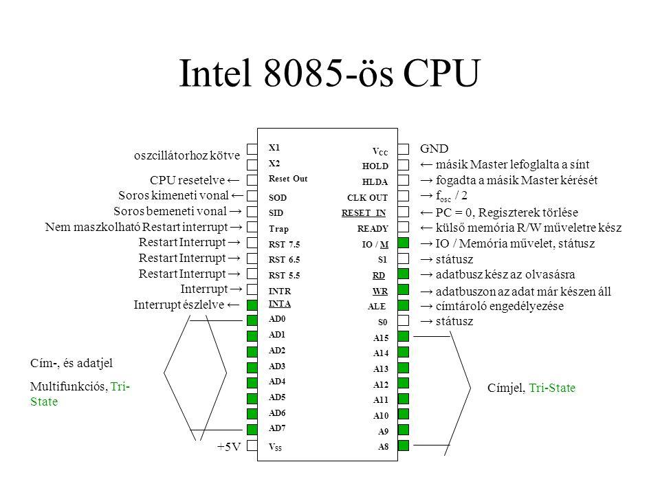 Intel 8085-ös CPU oszcillátorhoz kötve GND
