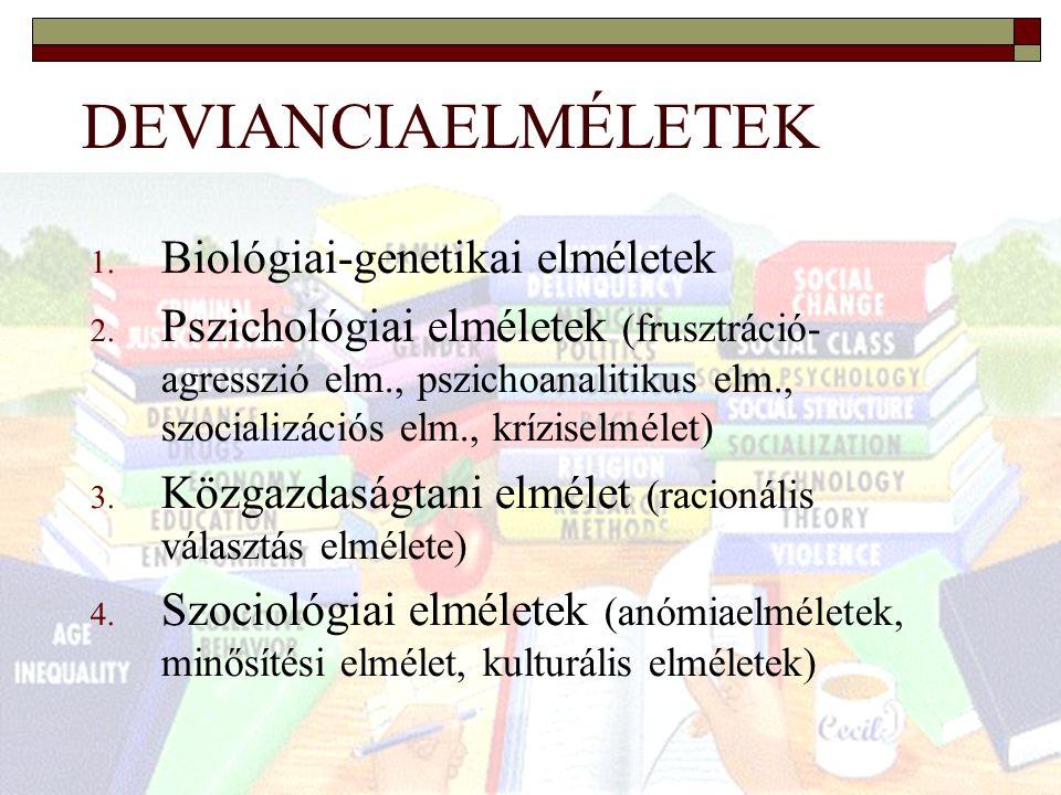 DEVIANCIAELMÉLETEK Biológiai-genetikai elméletek