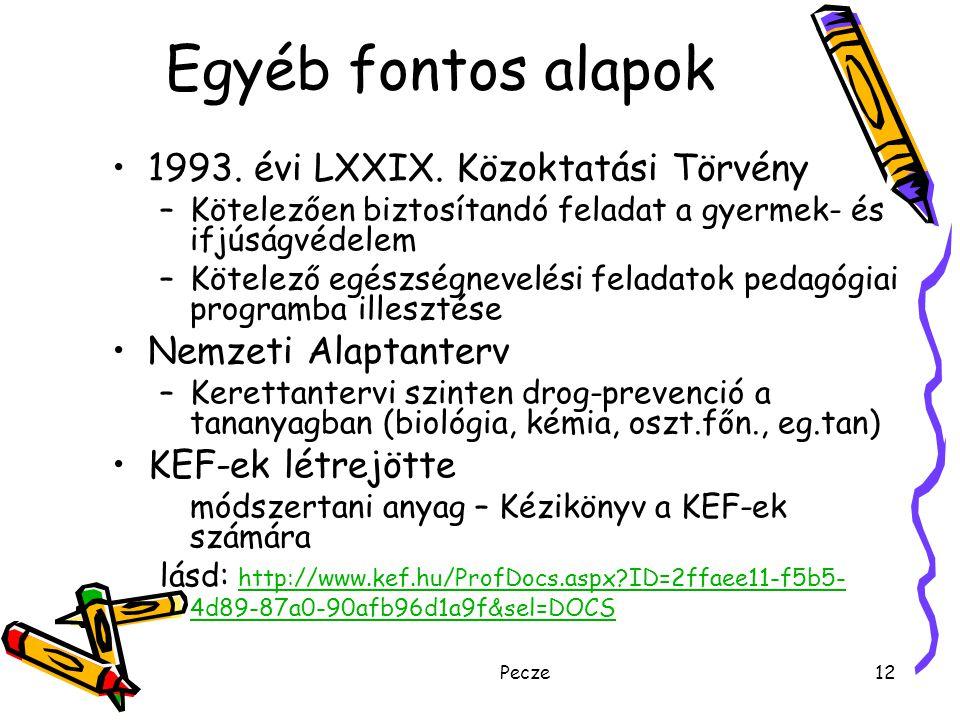 Egyéb fontos alapok 1993. évi LXXIX. Közoktatási Törvény