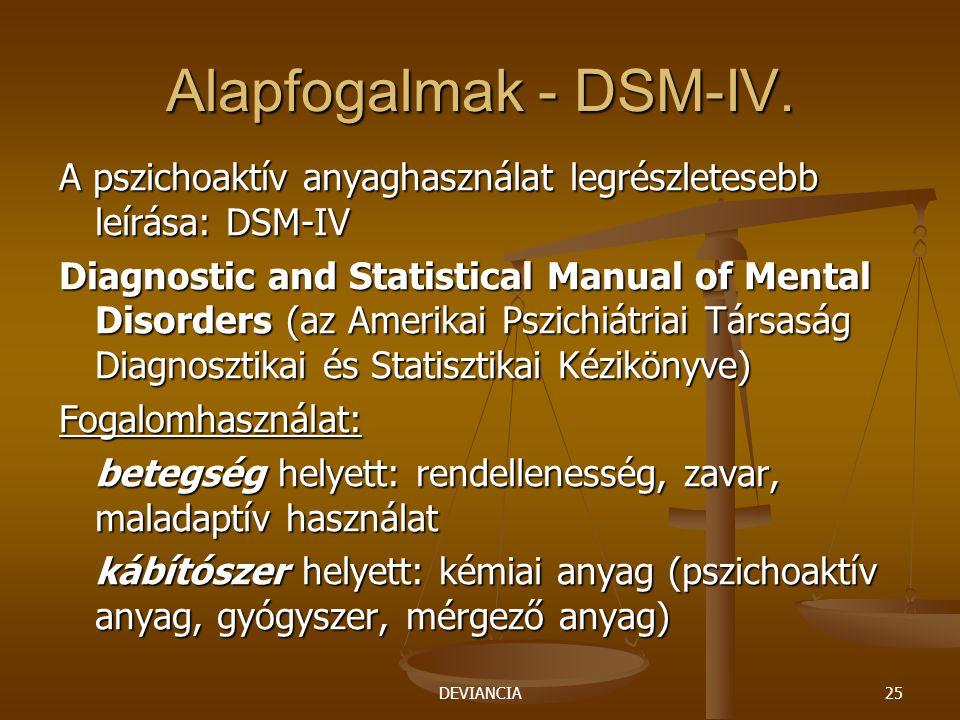 Alapfogalmak - DSM-IV. A pszichoaktív anyaghasználat legrészletesebb leírása: DSM-IV.