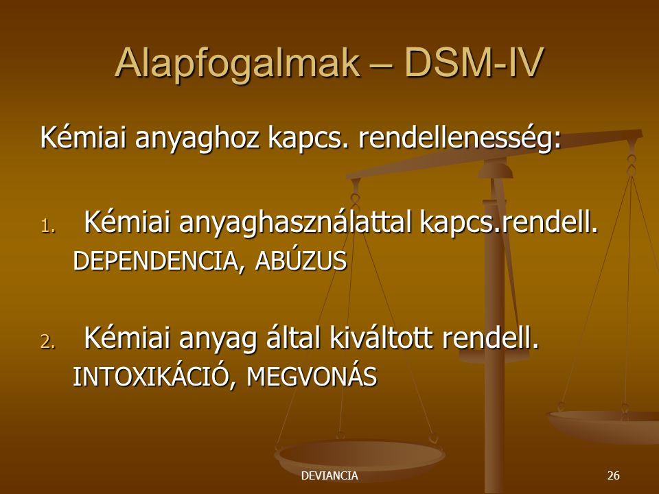 Alapfogalmak – DSM-IV Kémiai anyaghoz kapcs. rendellenesség: