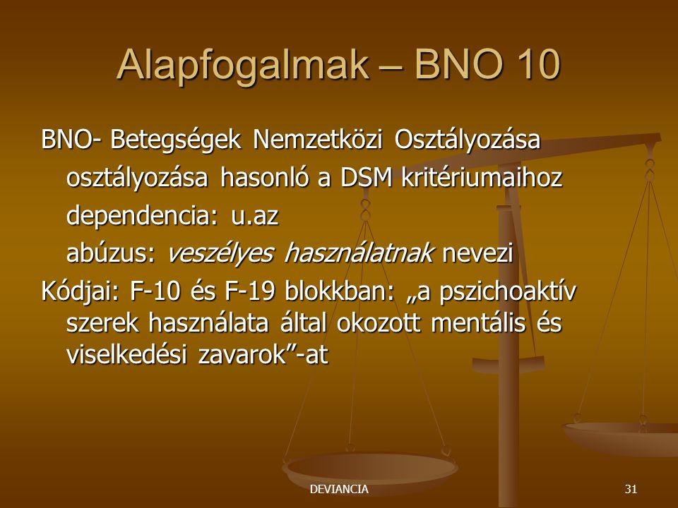 Alapfogalmak – BNO 10 BNO- Betegségek Nemzetközi Osztályozása
