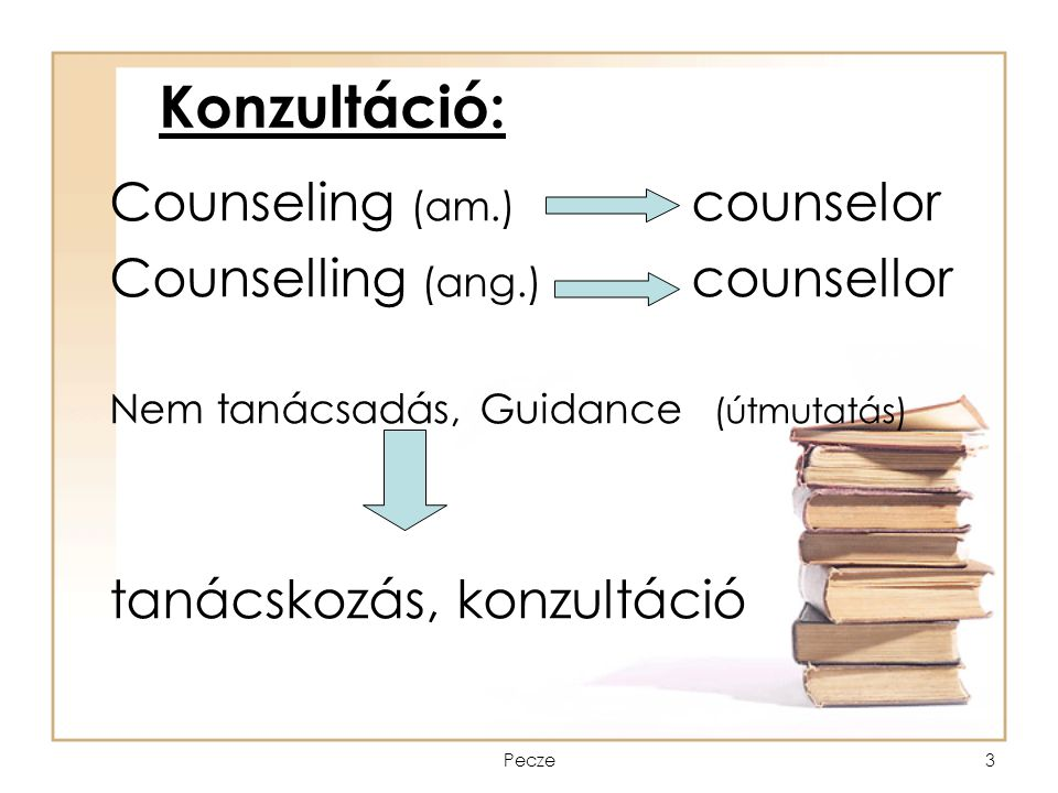 Konzultáció: Counseling (am.) counselor Counselling (ang.) counsellor