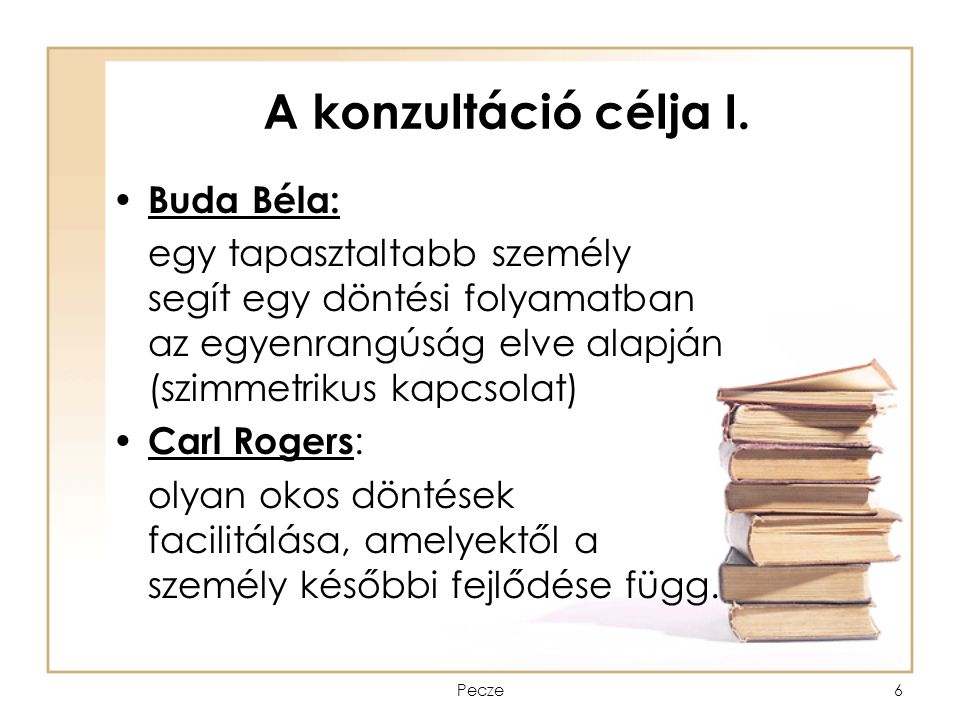 A konzultáció célja I. Buda Béla: