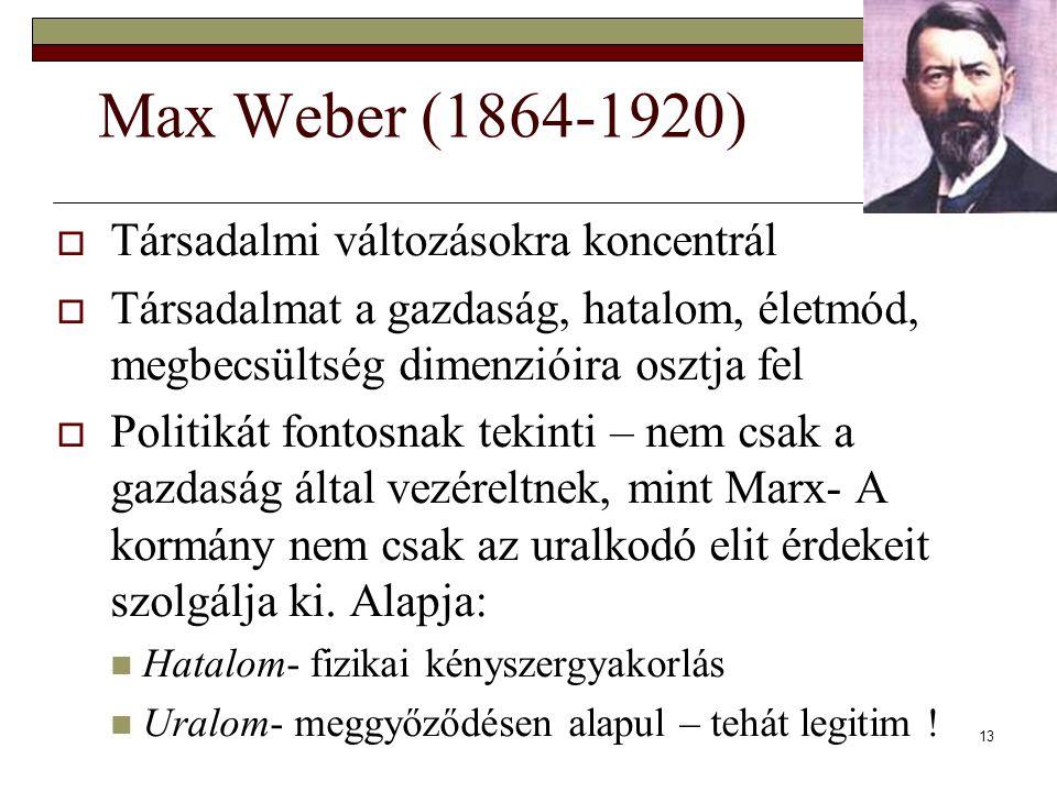 Max Weber (1864-1920) Társadalmi változásokra koncentrál