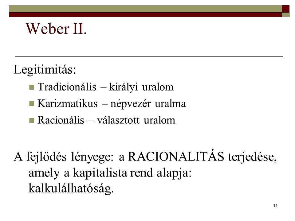 Weber II. Legitimitás: Tradicionális – királyi uralom. Karizmatikus – népvezér uralma. Racionális – választott uralom.
